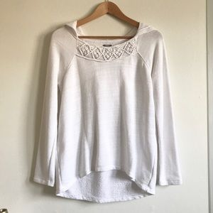 Aerie White Oversized Pullover with Crochet Neck